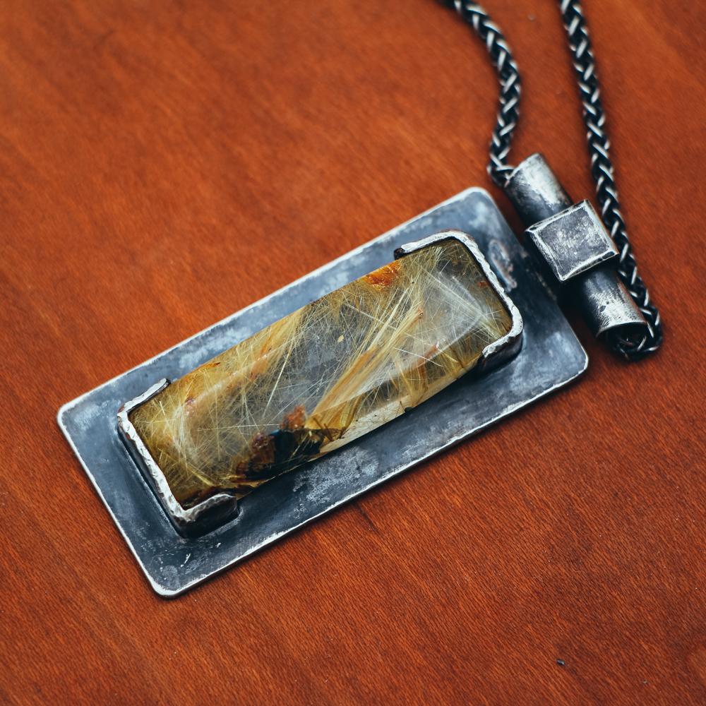Gold Rutile Quartz Pendant Necklace