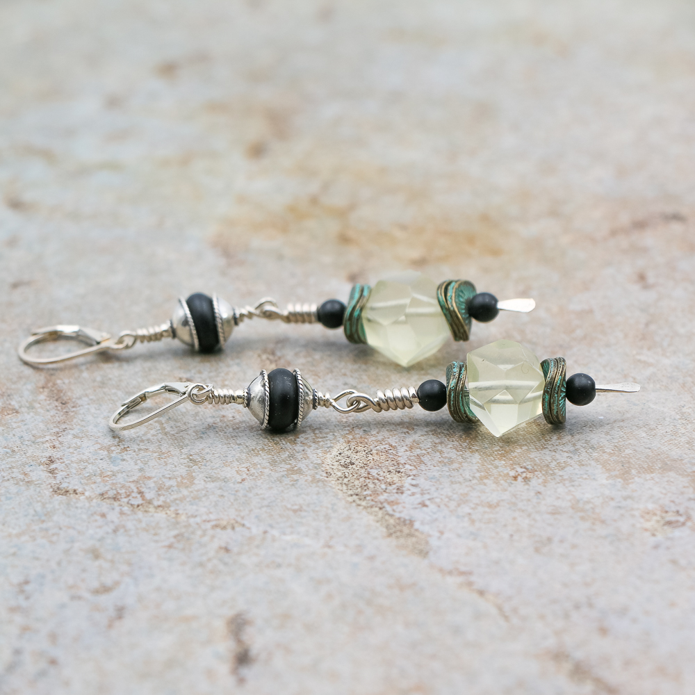 Silver and Onyx highlighted with Florite drops earrings