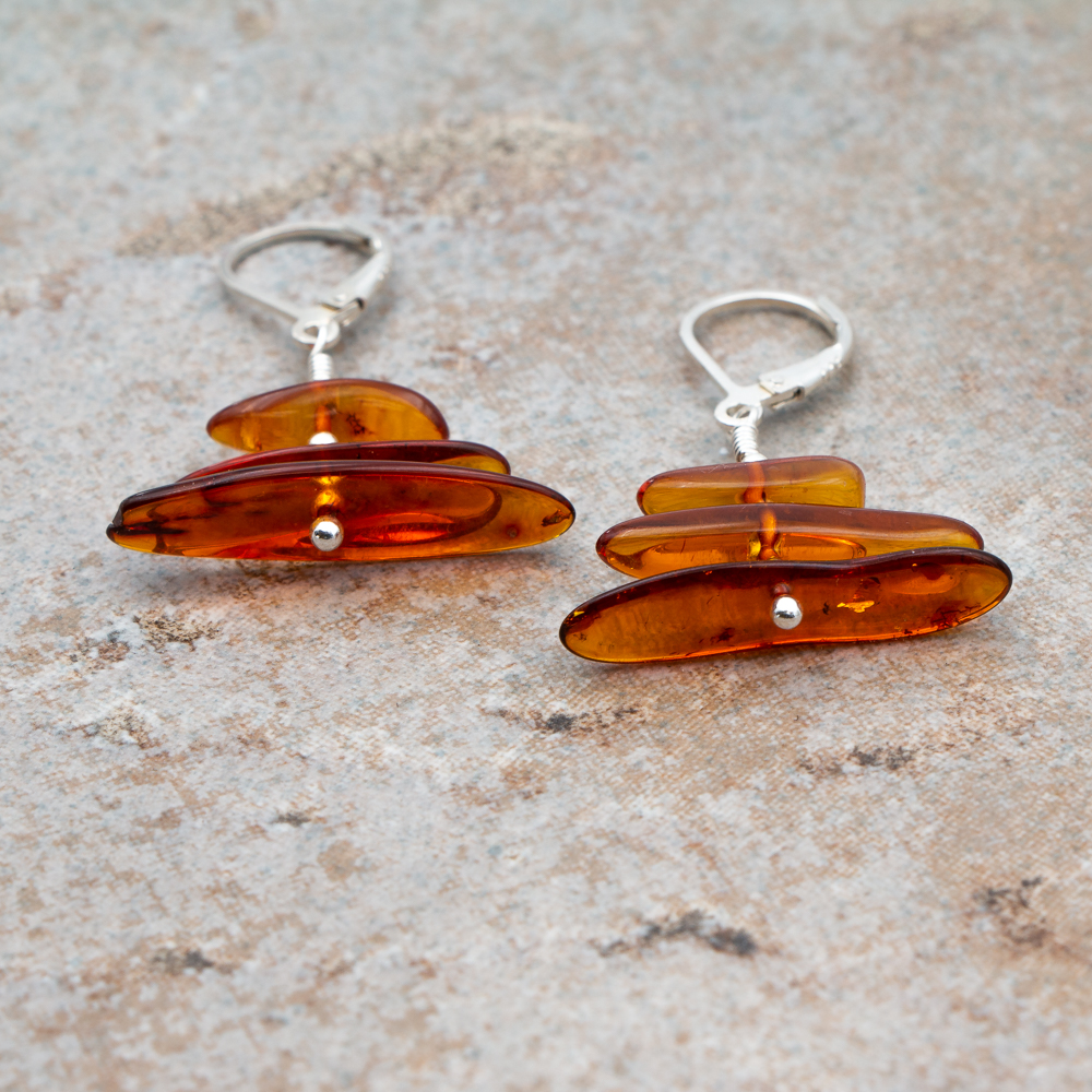 Tiered Baltic Amber Earrings