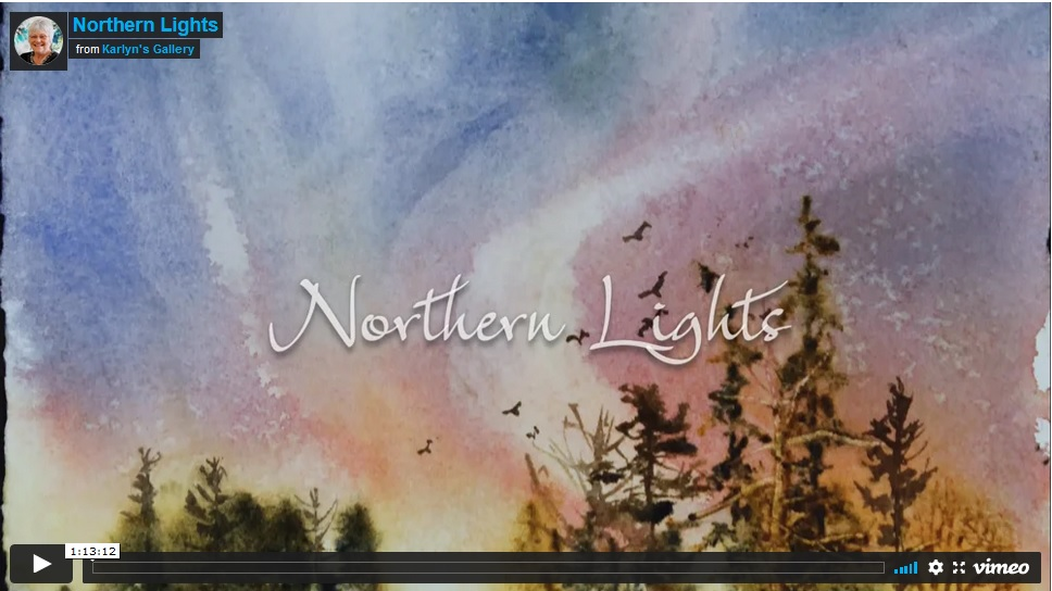 Northern Lights Watercolor and Mixed Media