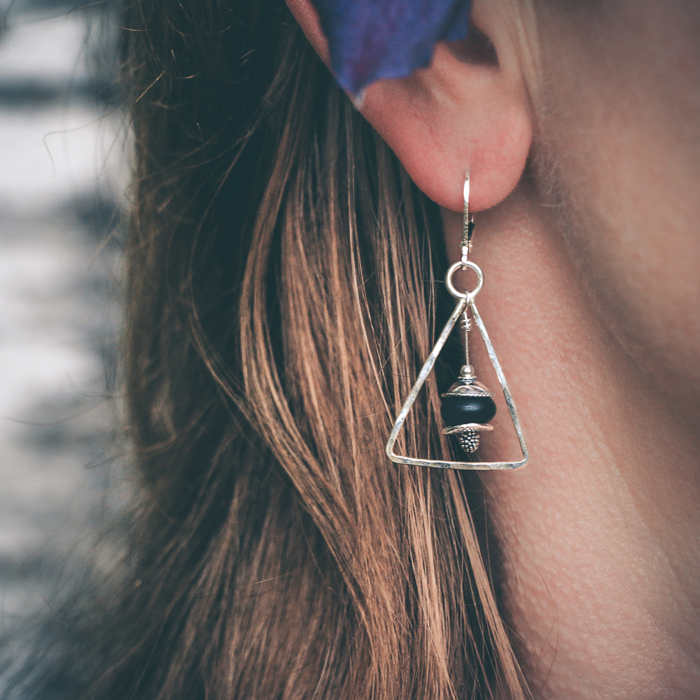 Sterling Silver Triangles - Onyx