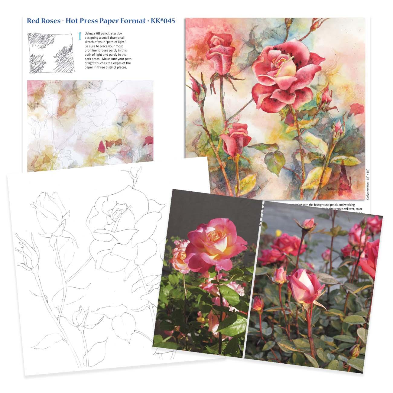 KK045 Red Roses on Hot Press Paper