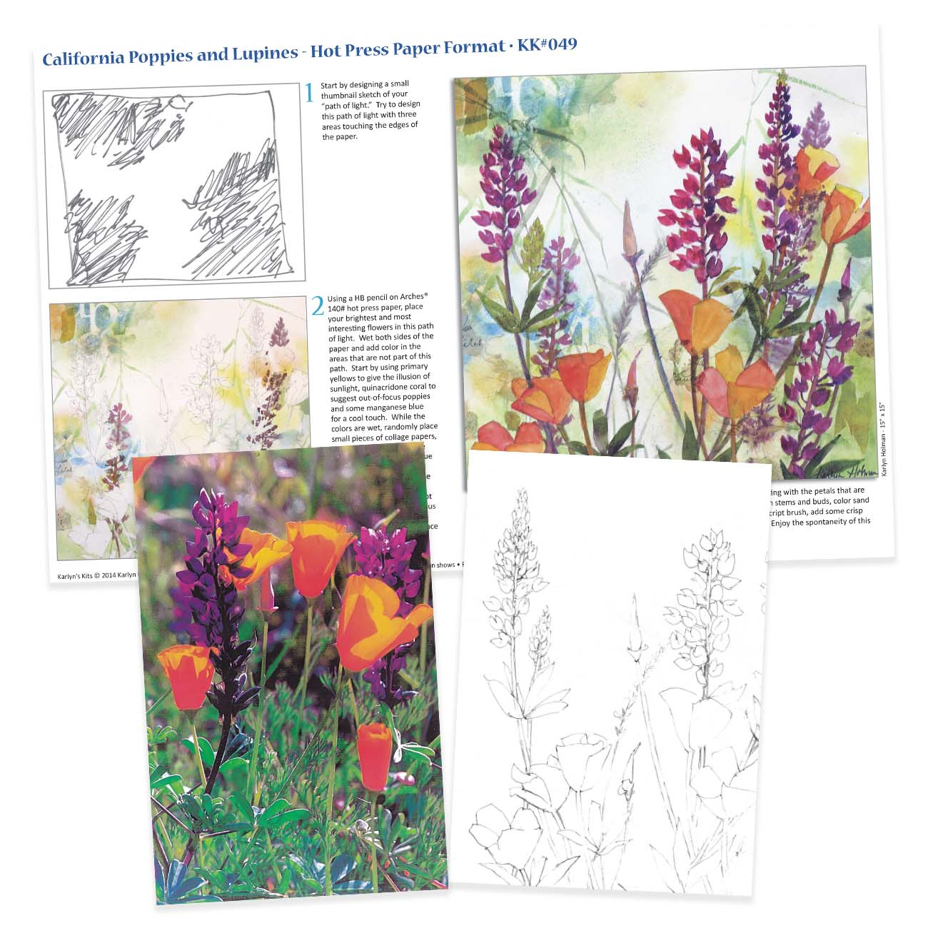 KK049 California Poppies & Lupines on Hot Press Paper