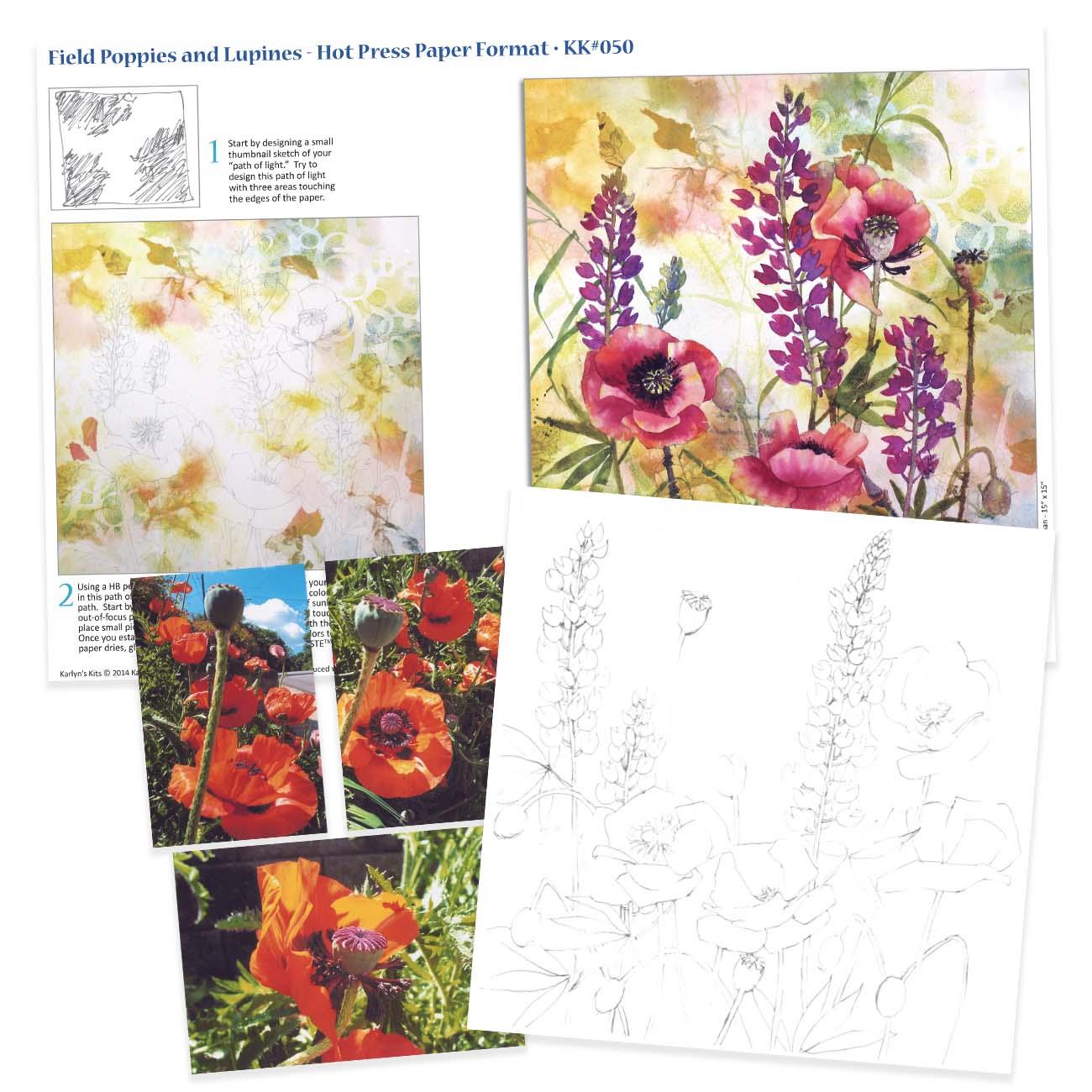 KK050 Field Poppies & Lupines on Hot Press Paper