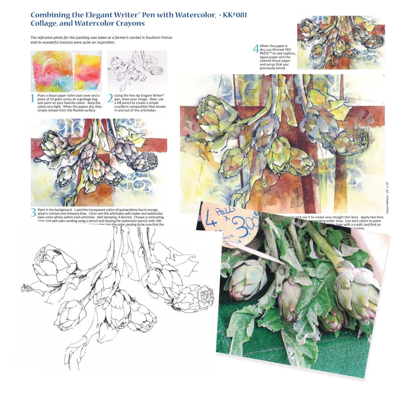KK081 - Artichokes, Elegant Writer Pen & Watercolors