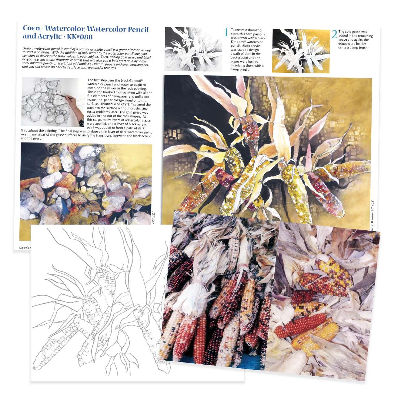 KK088 - Corn, Watercolor & Acrylic
