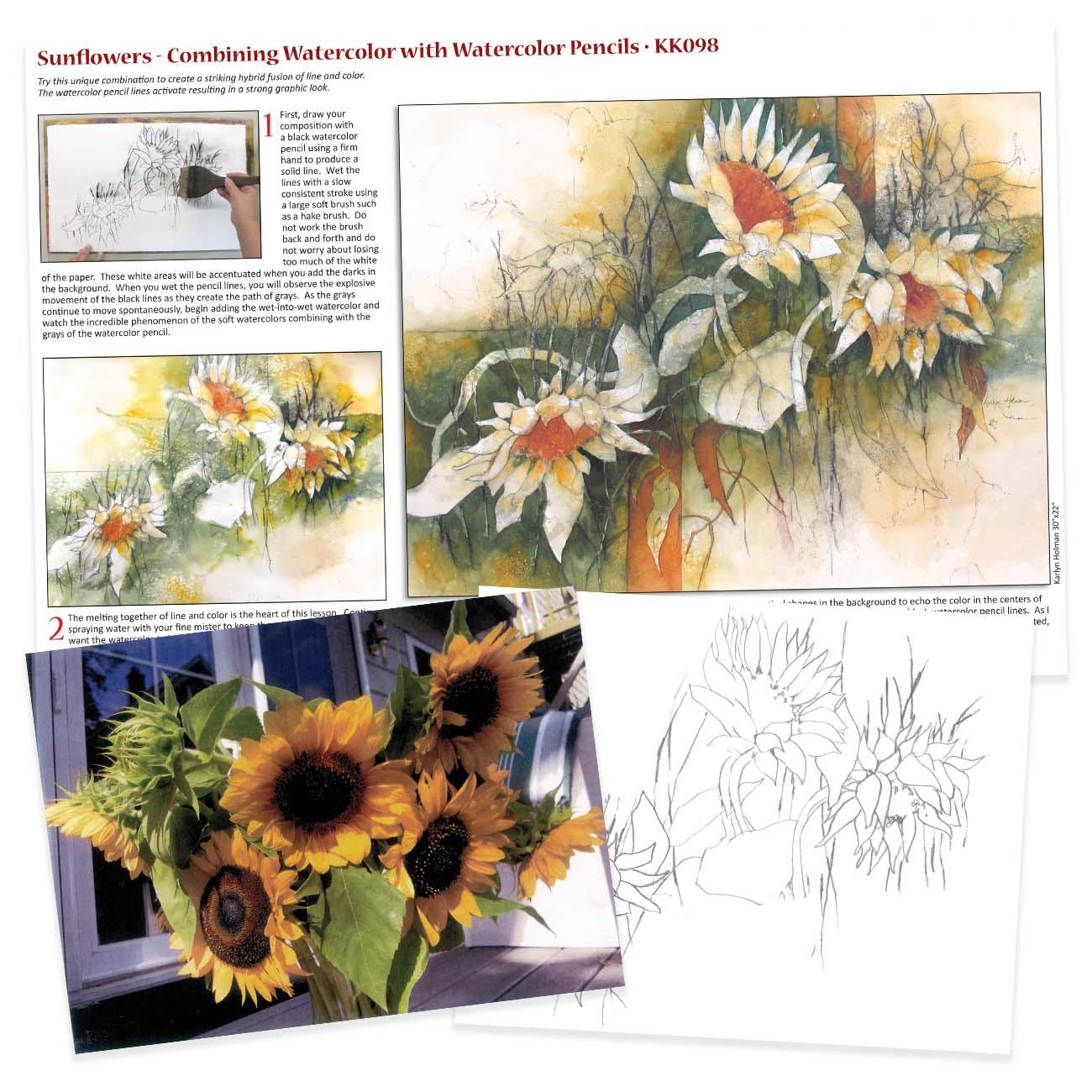 KK098 - Sunflowers, Watercolor with Watercolor Pencils