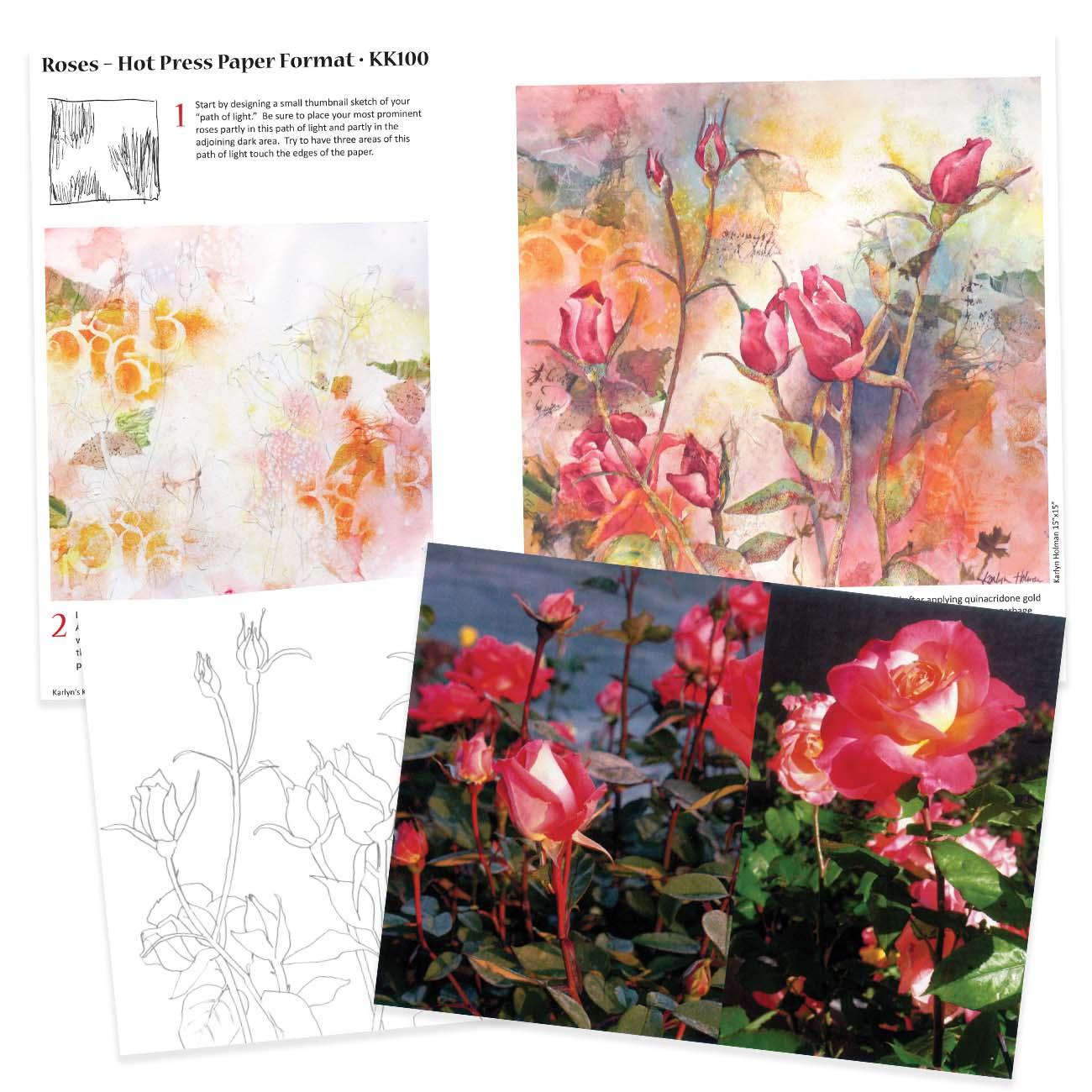 KK100 - Roses on Hot Press Paper